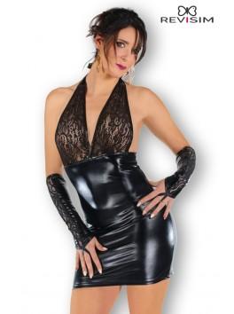 Wanda robe wetlook et dentelle avec mitaines