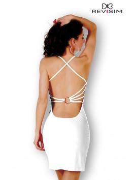 Robe blanche décolleté drapé et dos nu