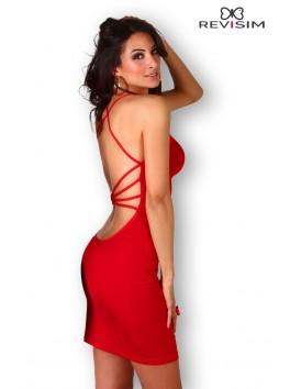 Robe rouge décolleté drapé et dos nu