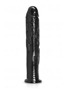 Gode ventouse droit noir 28x5 cm PVC