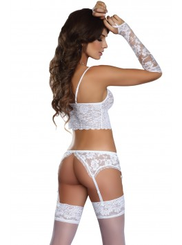 Modesta Ensemble blanc dentelle mitaine
