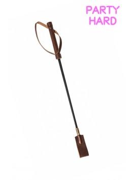 Fine Cravache noire/marron tissée anneau doré claquette moyenne Polyuréthane 45 cm