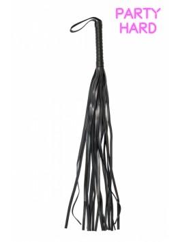 Grand martinet fouet noir rivets polyuréthane 64 cm