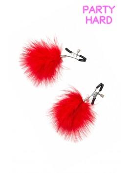2 Pinces à tétons réglage visses et duvet rouge