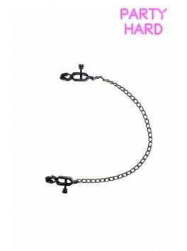 Pinces à tétons et chaine métal noir réglage visses