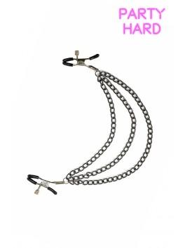 Pinces à tétons et 3 chaines métal réglage visses