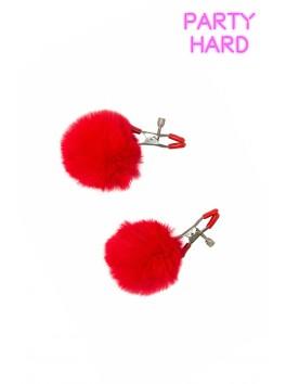 2 Pinces à tétons réglage visses et pompon rouge
