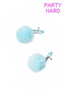 2 Pinces à tétons réglage visses et pompon bleu ciel