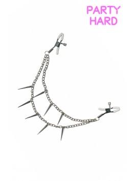 Pinces à tétons et 2 chaines métal avec pointes réglage visses