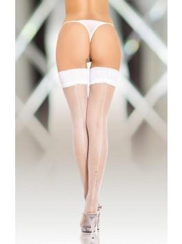 Bas Blanc résille avec couture jarretière dentelle pour Porte Jarretelles