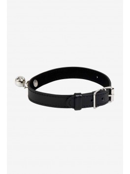 Collier Clochette simili cuir noir